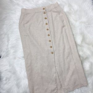 Button up Linen Pencil Skirt Vintage